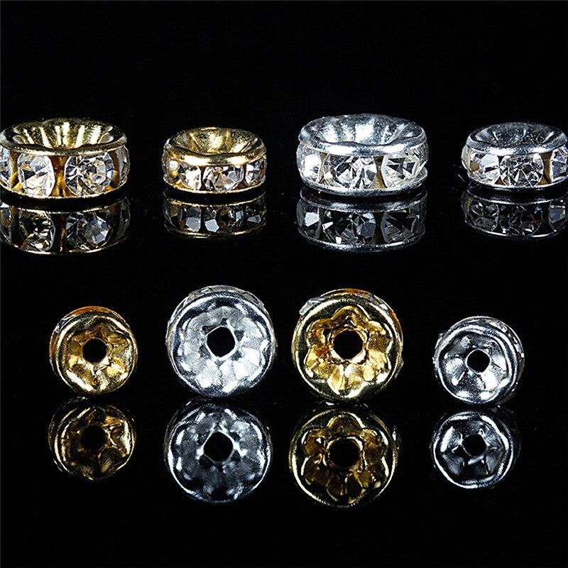 100 шт браслет 6 мм 8 мм Rondelle диск из нержавеющей стали хрустальные бусины с Стразы для изготовления ювелирных изделий DIY Аксессуары