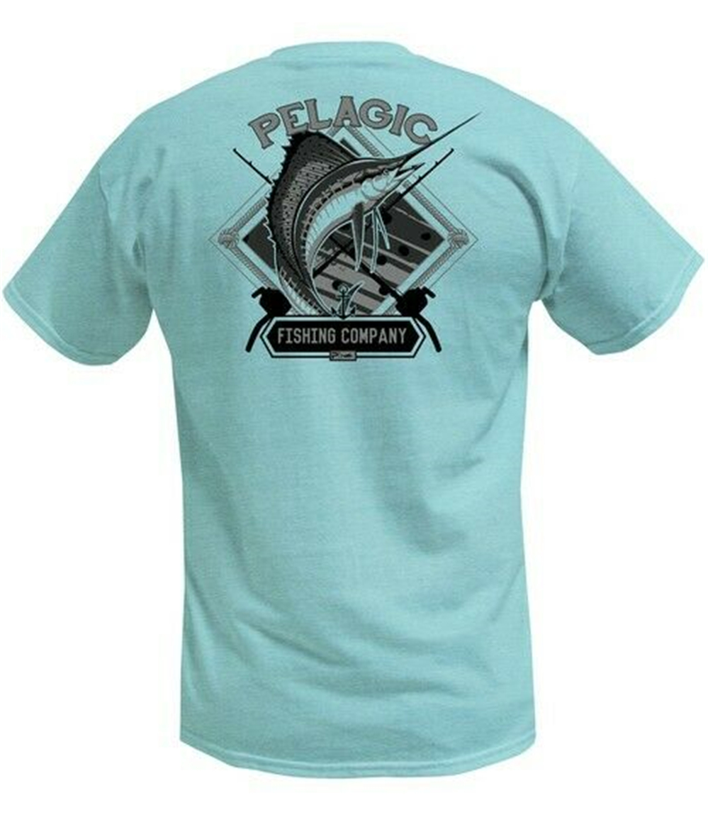 Men's Pelagic Sailfish Company Fishing T Shirt Men Women Light Green Sz L NWOT! Tee Shirt Cool Casual Cotton