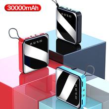 Mini powerbank 30000mAh zewnętrzna 2 bateria do telefonu USB przenośna podwójna lampa LED oświetlenie cyfrowy wyświetlacz szybka ładowarka bateria zewnętrzna tanie tanio NoEnName_Null Bateria litowo-polimerowa Z latarką Wodoodporna Podwójny USB 25001 mAh-29999 mAh Do tabletu Dla dronów