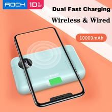 ROCK Power Bank 10000mAh Portable Fast Charger QC3.0 Qi Wire
