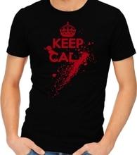 Simple Short-Sleeved Cotton T-Shirt Keep Calm Blood Shoot Scary Zombies Guns Kill Attack T-shirt Tshirt Tee O-Neck T Shirt Men