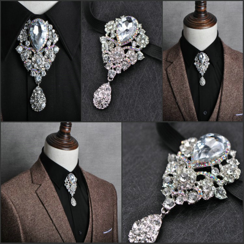 British Men Women Bowtie Cowboy Necklace Bolo Tie Accessory Vintage Elastic Band Alloy Bow Ties Shine Crystal Rhinestone Necktie