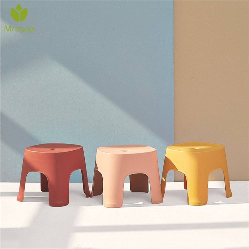 New Small Bench Anti-Skid Coffee Table Plastic Simple Stool Adult Thickening Children'S Stool For Shoes Short Stool 6 Colors