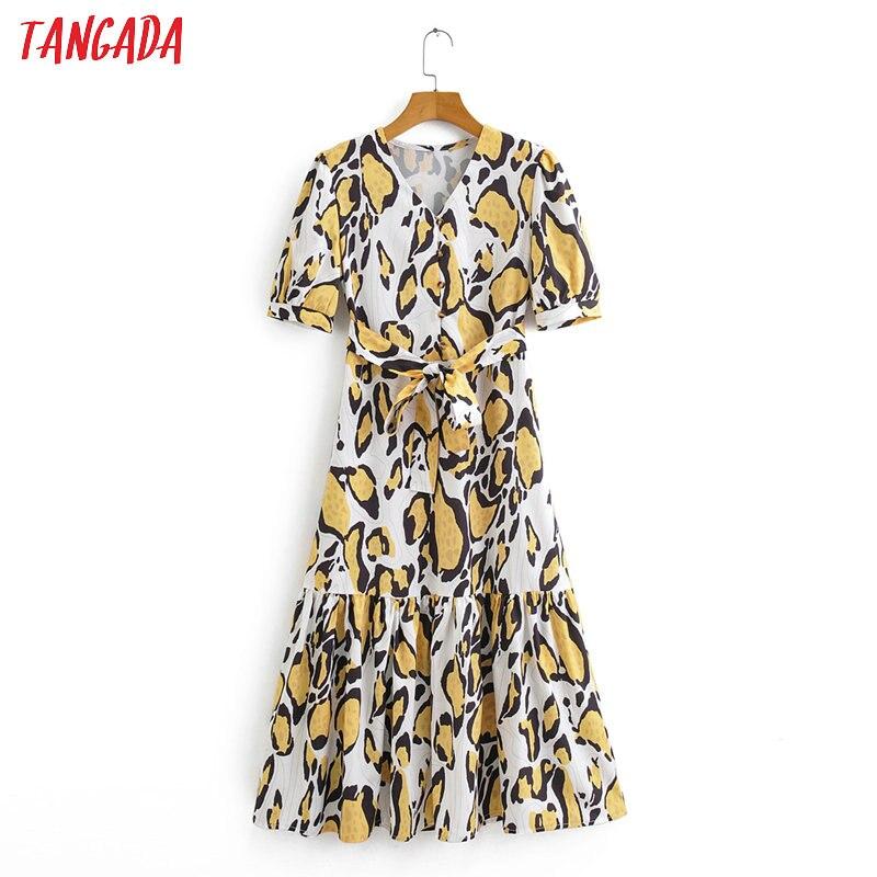 Женское платье с леопардовым принтом Tangada, летнее платье средней длины с коротким рукавом и v-образным вырезом, модель 2020, 2F14