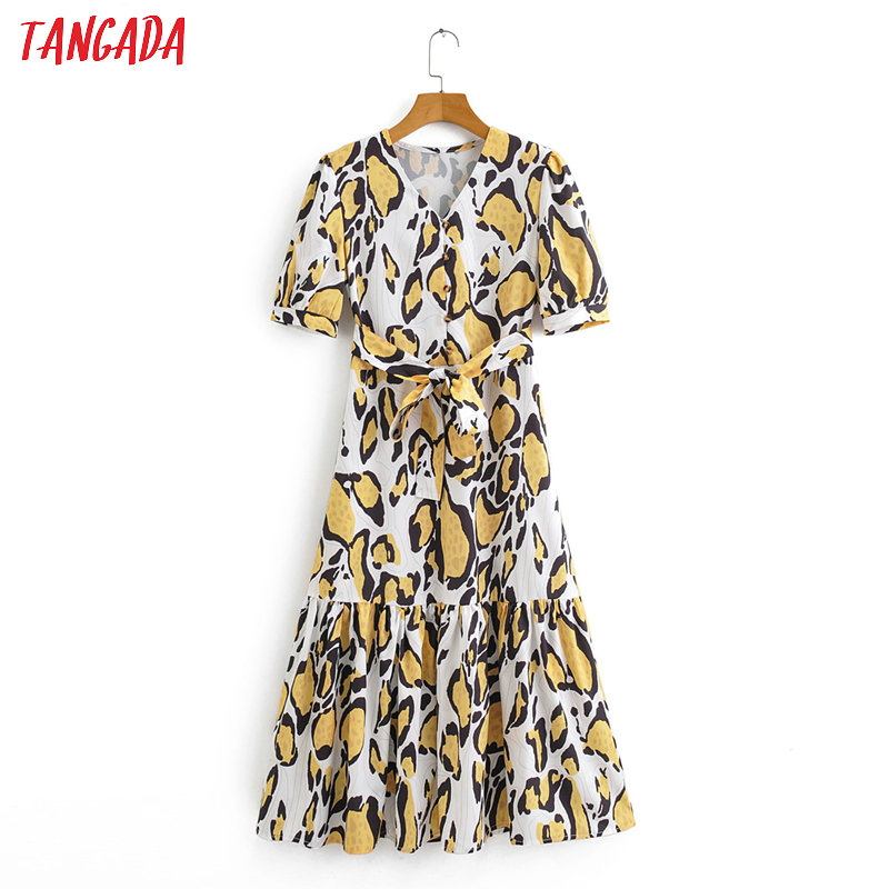 Tangada Fashion Women Leopard Print Summer Dress 2020 Short Sleeve Ladies V Neck Midi Dress Vestidos 2F14