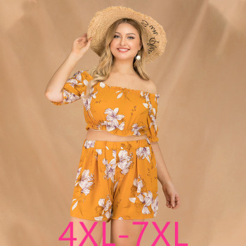 2019 new summer plus size sets for women large short sleeve loose off Shoulder jumpsuits tops and shorts yellow 4XL 5XL 6XL 7XL
