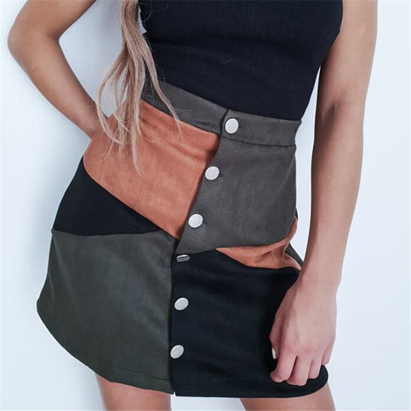 Winter Women High Waist Skirt Vintage Single-breasted Ladies A-line Skirts Women Clubwear Ladies Mini Skirt Streetwear