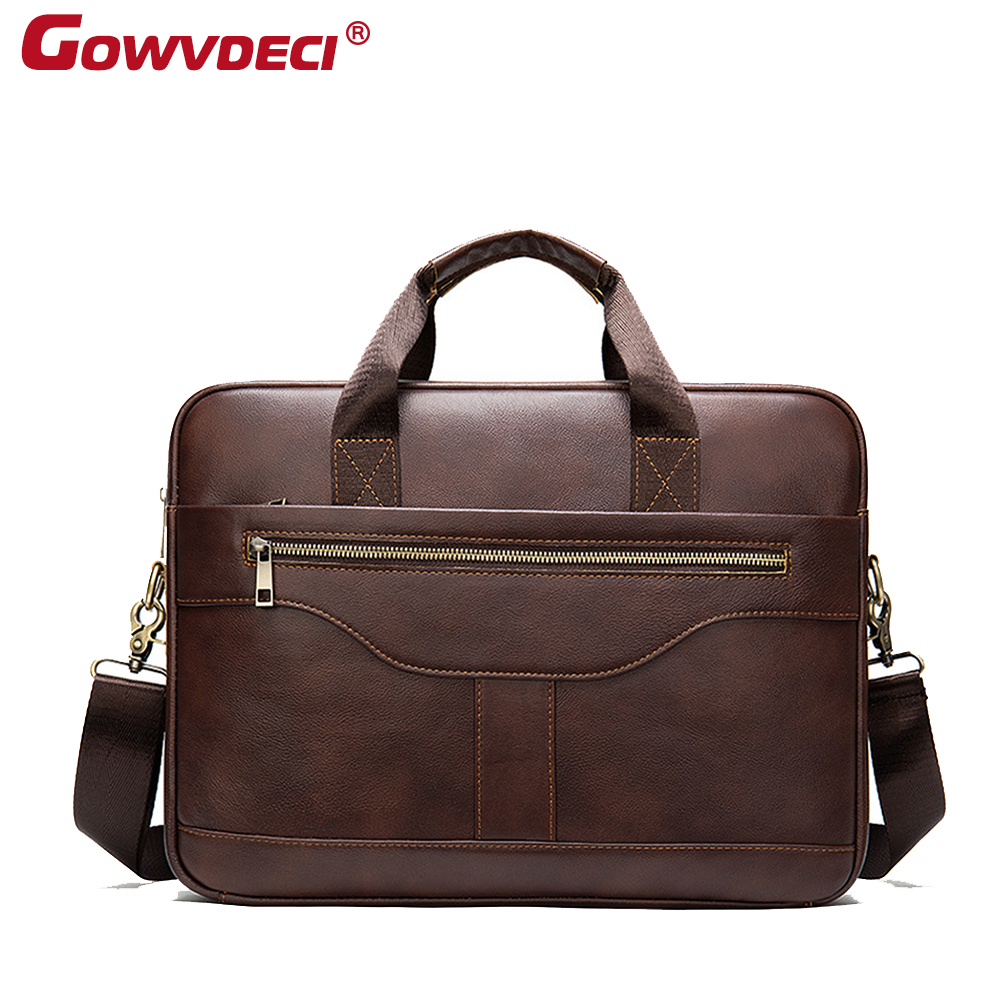 Genuine Leather Men's Business Briefcase 14 Inch Computer Handbag New Fashion Men's Shoulder Bag
