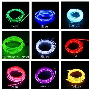 Image 4 - EL Draht Auto Innen Atmosphäre Umgebungs Licht Rohr LED Streifen Flexible Neon Lampe Glow String Licht Für Auto Dekoration Auto styling