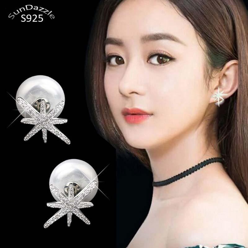 925 Sterling Silver Needle Stud Earrings for Women Jewelry Double Side Star Cubic Zircon Shell Pearl Female Earrings(China)