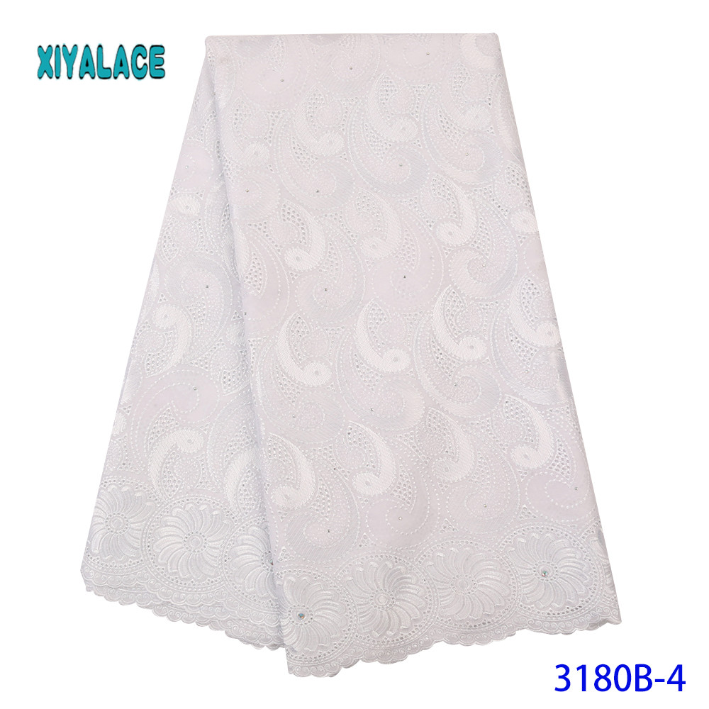Latest Pure White African Net Lace Fabric For Wedding Dress Embroidered Nigerian Lace Swiss Voile Lace In Switzerland YA3180B-4