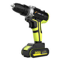 2 Batteries Cordless Electric Drill Screwdriver LED 25-speed Torque Double Speed Waterproof Power Tools