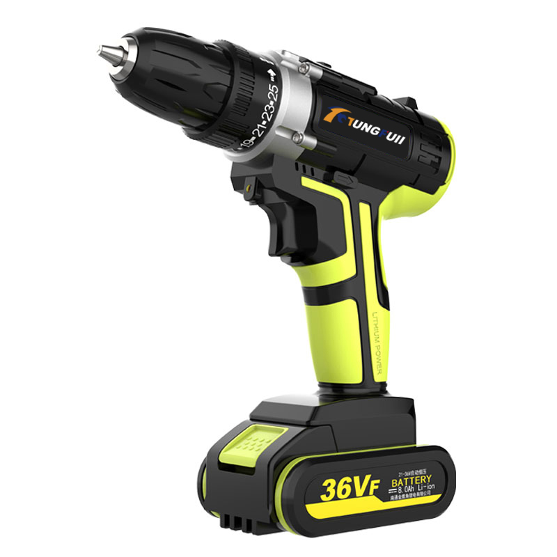 36VF Lithium Batteries Cordless Electric Drill Screwdriver  LED 25-speed Torque Double Speed Waterproof Power Tools