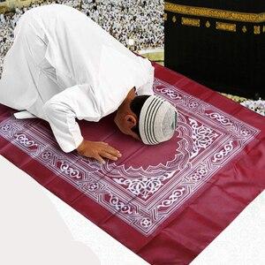 Image 4 - Nowy muzułmański przenośny dywan modlitewny Mat pleciony maty po prostu drukuj z kompasem muzułmański dywanik do modlitwy dywan modlitewny dla dzieci mata do domu koc 100x60cm