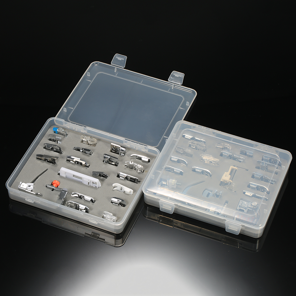 42pcs Domestic Presser Foot Sewing Machine Parts Accessories with Plastic Box for Professional Low Shank Sewing Machines