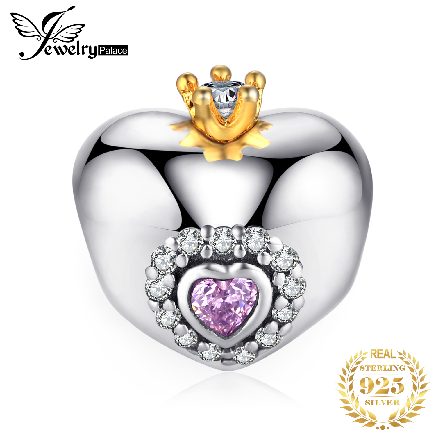 JewelryPalace Crown Heart 925 Sterling Silver Beads Charms Silver 925 Original For Bracelet Silver 925 Original Jewelry Making