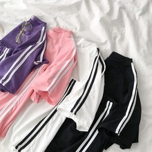 Casual Tracksuit Summer Matching Sets O-Neck Soild Short Sleeve T-Shirt And Side Striped Shorts