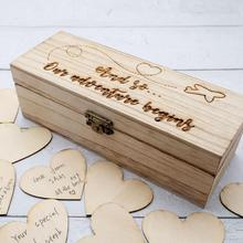Personalized Wedding Guest Book with Hearts, Custom Rustic Keepsakes Alternative Gift, Engraved Wood Sign Wedding Guestbook Box