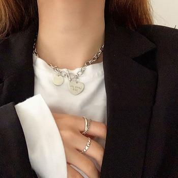 AOMU, colgante de amor de Hip Hop, gargantilla de Lasso circular de Plata a la moda, Collar llamativo, Collar de clavícula para mujer, joyería