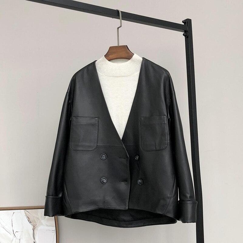 Nerazzurri Black Pu Leather Jacket Women Deep V Neck Drop Shoulder Double Breasted Plus Size Faux Leather Jackets Women 4xl 5xl