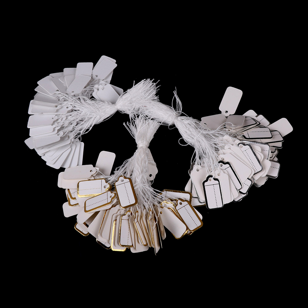 100 шт./лот DIY ценовая этикетка, прямоугольная этикетка, веревка для галстуков, ювелирных изделий, одежды, товары, ценники, карта, серебро/золот...