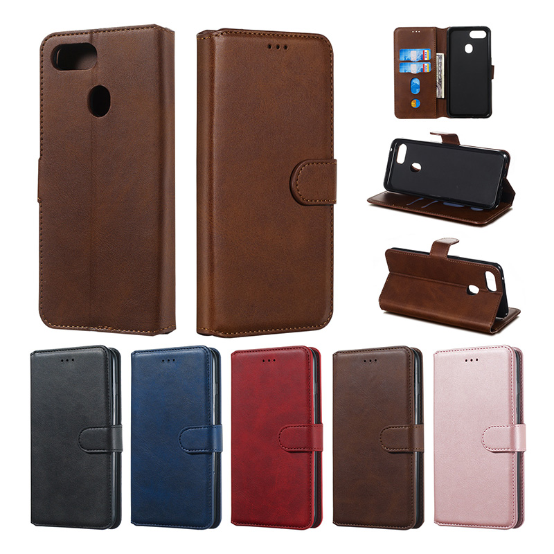 Flip <font><b>Wallet</b></font> <font><b>Case</b></font> For <font><b>OPPO</b></font> A59 A73 A83 A1 A3S AX5 <font><b>A5</b></font> A9 F1S F5 F9 F11 Vintage Plain PU Leather Card Slots Luxury Stand Coque Capa image