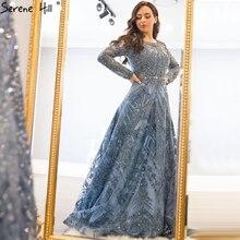 فساتين سهرة فاخرة بأكمام طويلة من Dubai 2020 أزرق كحلي ورقبة دائرية من الكريستال فستان رسمي تصميم Serene Hill مقاس كبير LA60900