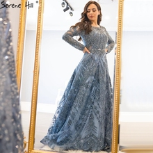 Dubai Luxury Long Sleeves Evening Dresses 2020 Navy Blue O Neck Crystal Formal Dress Design Serene Hill Plus Size LA60900
