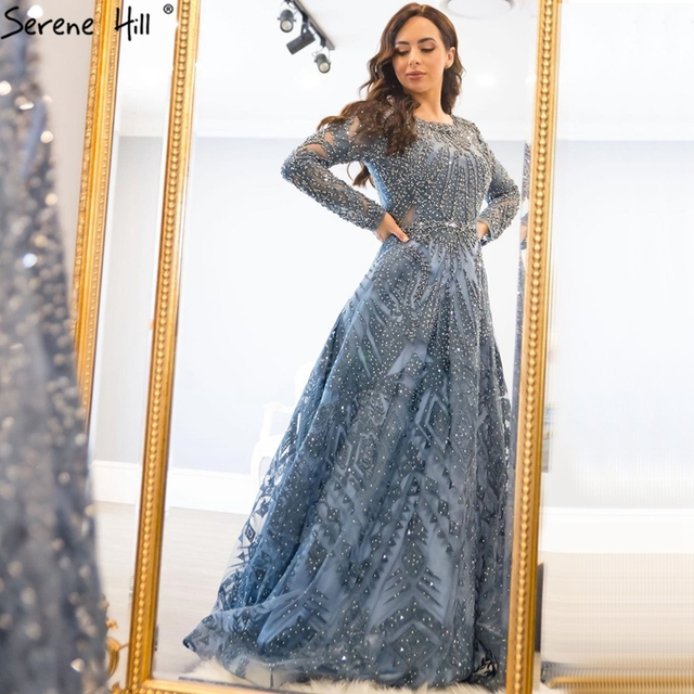 Dubai Luxury Long Sleeves Evening Dresses 2020 Navy Blue O Neck Crystal Formal Dress Design Serene Hill Plus Size LA60900