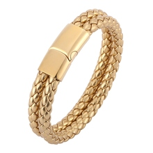 Fashion Men Jewelry Gold Braided Leather Bracelet Stainless Steel Magnetic Clasp Fashion Bangles Wristband Male Gift BB0503
