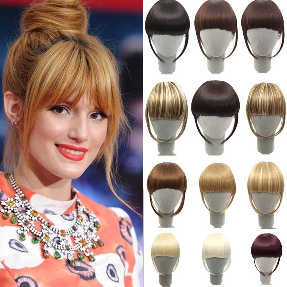 MANWEI False Hair Bangsblack Brown Auburn Red Clip In On Synthetic Hair Fringe Clip In Bangds For Women High Temperature Fibe