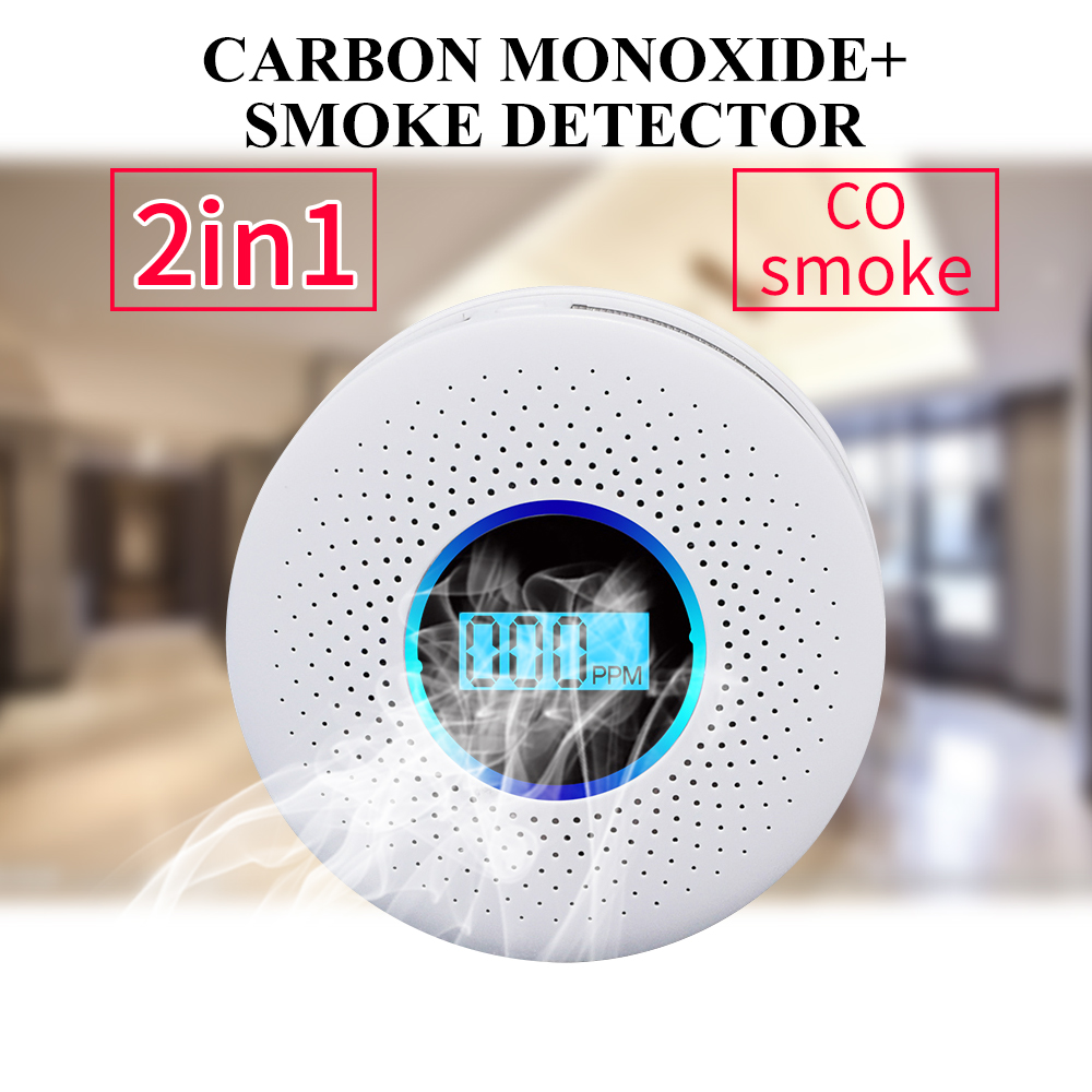 Smoke Detector Sensor Fire Alarm Universal CO&Smoke Detector Carbon Monoxide For Kitchen/Restaurant/Hotel/Home Security