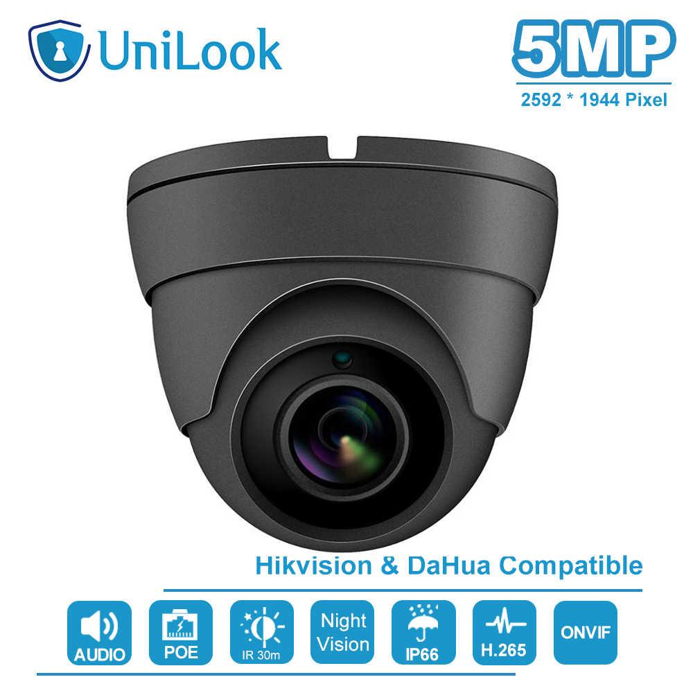 يونيلوك (هيكفيسون متوافق) 5MP IR قبة POE كاميرا IP في الهواء الطلق الأمن الصوت CCTV المراقبة بالفيديو H.265 ONVIF IPC-D3150G-S