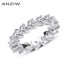 925 Sterling Silver Wedding Engagement Full Enternity Rings Anniversary Heart Cut Ring Silver Women Bridal Ring Jewelry