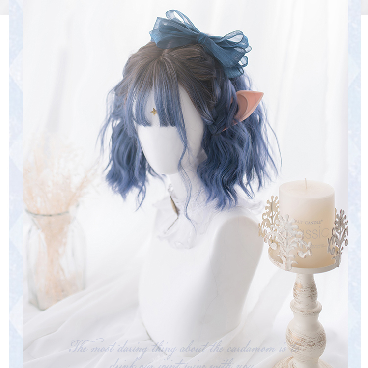 Gradient Ramp Brown Dark Blue Lolita Cosplay Wig Girl Hairpiece Short Wavy Curly Hair Periwig 31 Cm Wig Only Without Accessory