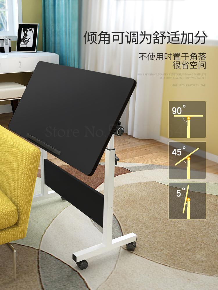 Простой компьютерный стол для ноутбука, Настольная домашняя кровать, простой складной прикроватный столик, мобильный подъемный письменный...