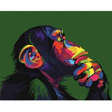 Hot Sale Color Thinking Orangutan Animal Abstract  Diy Pictures By Numbers Oil Painting On Canvas Handmade Wall Art Picture