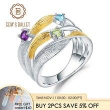 GEMS BALLET 925 Sterling Silver Handmade Band Twist Rings Natural Peridot Amethyst Topaz Gemstones Ring for Women Bijoux