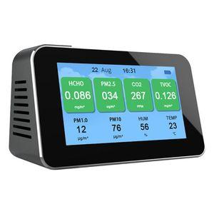 Portable Digital LCD Display Quick Sensing Air Quality Monitor Gas Pollution Meter Detector PM2.5+CO2+Formaldehyde(HCHO)+TVOC AQ