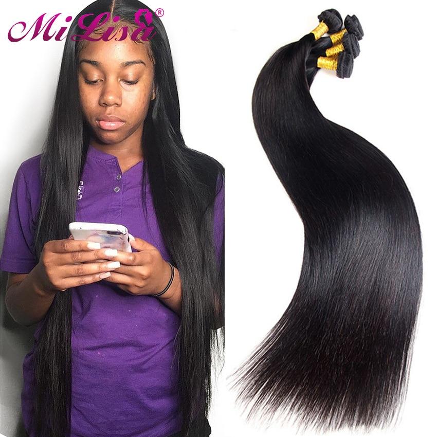 Mi lisa feixes de cabelo reto remy tecer cabelo humano 10- 30 Polegada natural malaio extensões de cabelo reto pode comprar 3 pacote negócio