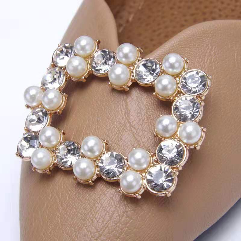 1pair Luxury Shoe Clip DIY Shoes Decoration Rhinestone Pearl Simulation Jewelry Square Hollow Ornaments For High Heel Sandals