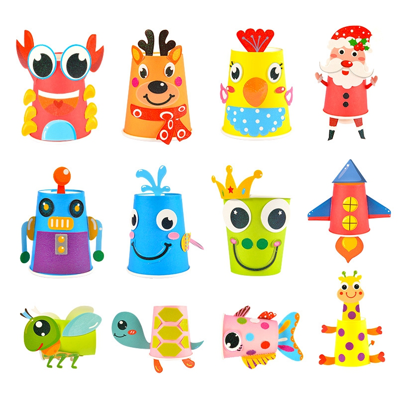 12Pcs Children 3D Diy Handmade Paper Cups Sticker Material Kit Whole Set Kids Kindergarten School Art Craft Educational Toys