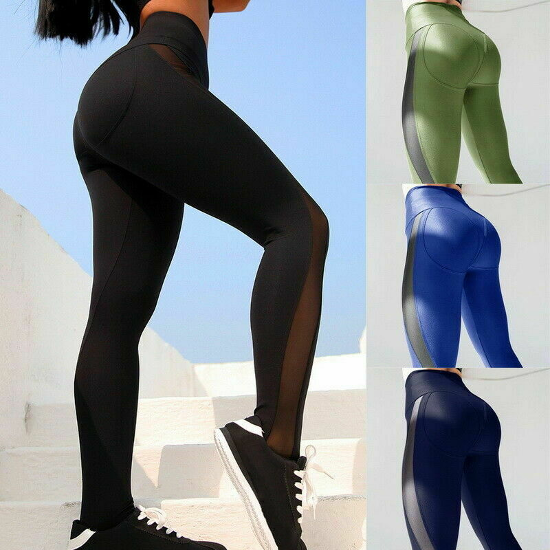 Fashion Women Mesh Leggings High Waist Quick Drying Gym Sports Running Slim Fit Fitness Pants