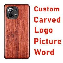 Carveit Custom 3D intagliato Picture custodie in legno lusso TUP Soft Edge Cover accessorio in legno guscio sottile protettivo Xiaomi telefoni scafo