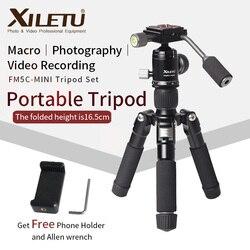 XILETU FM5C-MINI الألومنيوم مستقرة منضدية سطح المكتب ترايبود ورأس الكرة للكاميرا كاميرا رقمية بدون مرآة هاتف ذكي