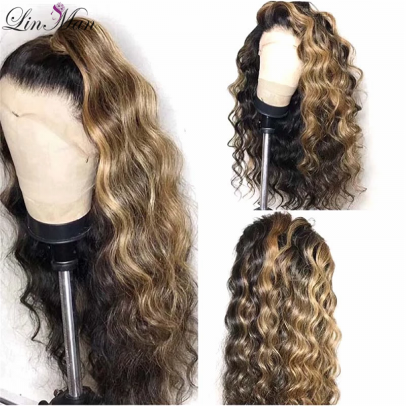 Ombre Color Curly Lace Front Human Hair Wigs With Baby Hair Pre Plucked Remy Brazilian Lace Wigs Bleached Knots