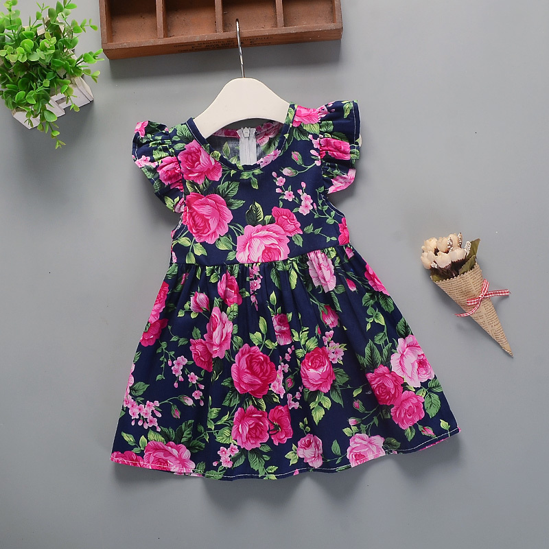 Hc3eb130737804addb1c0e0b616915251j Hot 2018 New Summer Dress Toddler Kids Baby Girls Lovely Birthday Clothes Blue Striped Off-shoulder Ruffles Party Gown Dresses