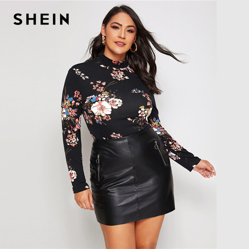 SHEIN Plus Size Black Mock Neck Floral Print Tee Women Autumn Office Lady Tops Long Sleeve Slim Fit Stretchy Elegant T-shirts