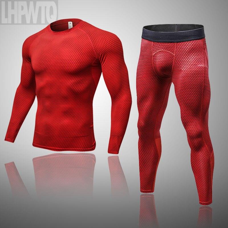 Мужская одежда, зимний двухслойный спортивный костюм, подштанники, термобелье, 2 шт./комплект, компрессионная рубашка, штаны, комплект для занятий фитнесом|Кальсоны|   | АлиЭкспресс