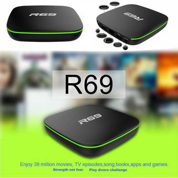 Умная ТВ-приставка с европейской вилкой R69 Android 7,1 1 + 8G четырехъядерный HD 2,4 ггц WiFi 4K медиаплеер 1080P HD Поддержка 3D фильмов